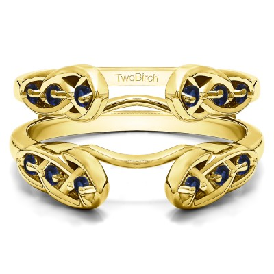 0.24 Ct. Sapphire Infinity Cathedral Celtic ring guard in Yellow Gold