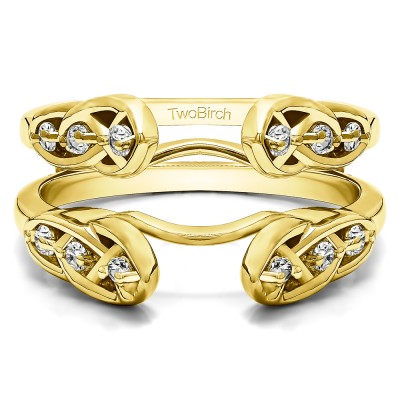 0.24 Ct. Infinity Cathedral Celtic ring guard in Yellow Gold