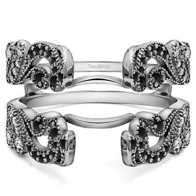 .50 Ct. Black and White Stone Wide Vintage Filigree Millgrained Ring Guard