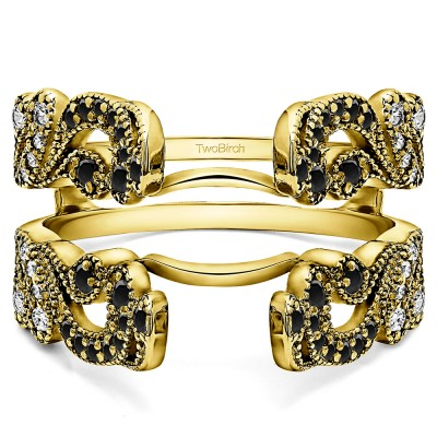 .50 Ct. Black and White Stone Wide Vintage Filigree Millgrained Ring Guard in Yellow Gold