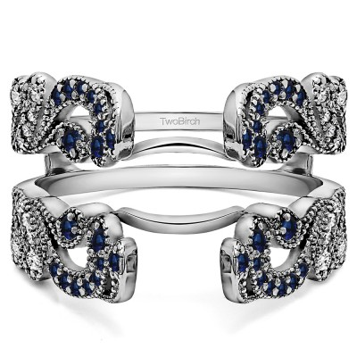 .50 Ct. Sapphire and Diamond Wide Vintage Filigree Millgrained Ring Guard