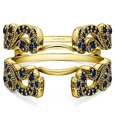 .50 Ct. Sapphire Wide Vintage Filigree Millgrained Ring Guard in Yellow Gold