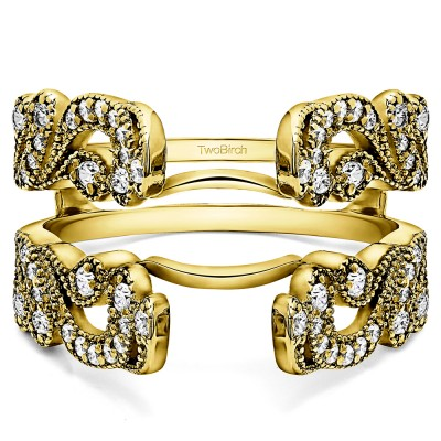 .50 Ct. Wide Vintage Filigree Millgrained Ring Guard in Yellow Gold