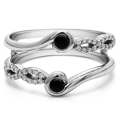 0.34 Ct. Black and White Stone Infinity Bypass Ring Guard Enhancer