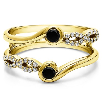 0.34 Ct. Black and White Stone Infinity Bypass Ring Guard Enhancer in Yellow Gold