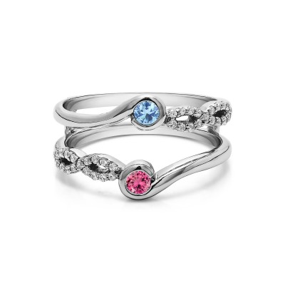 Genuine Birthstone Infinity Ring Guard Enhancer(0.34 Carat)