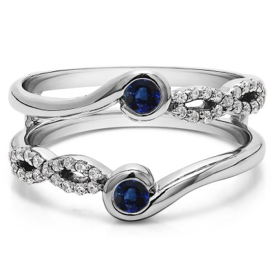 0.34 Ct. Sapphire and Diamond Infinity Bypass Ring Guard Enhancer