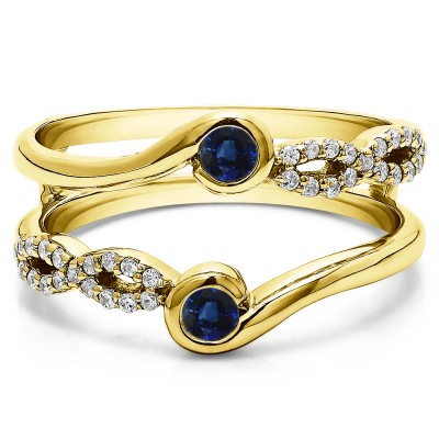 0.34 Ct. Sapphire and Diamond Infinity Bypass Ring Guard Enhancer in Yellow Gold