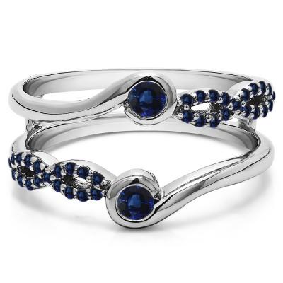 0.34 Ct. Sapphire Infinity Bypass Ring Guard Enhancer