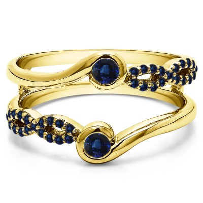 0.34 Ct. Sapphire Infinity Bypass Ring Guard Enhancer in Yellow Gold