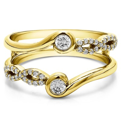 0.34 Ct. Infinity Bypass Ring Guard Enhancer in Yellow Gold