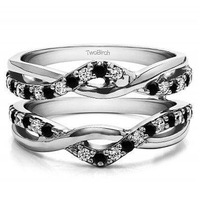 0.57 Ct. Black and White Stone Criss Cross Infinity Ring Guard Enhancer