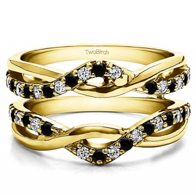 0.57 Ct. Black and White Stone Criss Cross Infinity Ring Guard Enhancer in Yellow Gold