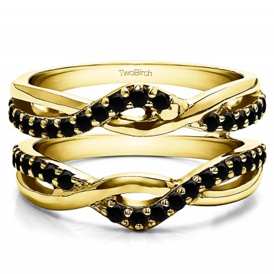0.57 Ct. Black Stone Criss Cross Infinity Ring Guard Enhancer in Yellow Gold