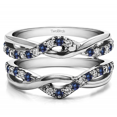 0.57 Ct. Sapphire and Diamond Criss Cross Infinity Ring Guard Enhancer