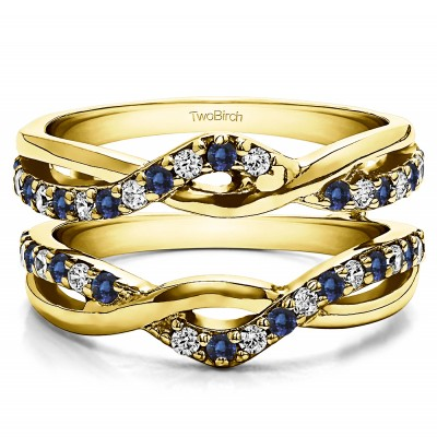 0.24 Ct. Sapphire and Diamond Criss Cross Infinity Ring Guard Enhancer in Yellow Gold
