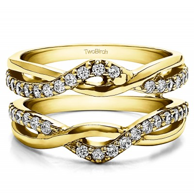 0.57 Ct. Criss Cross Infinity Ring Guard Enhancer in Yellow Gold