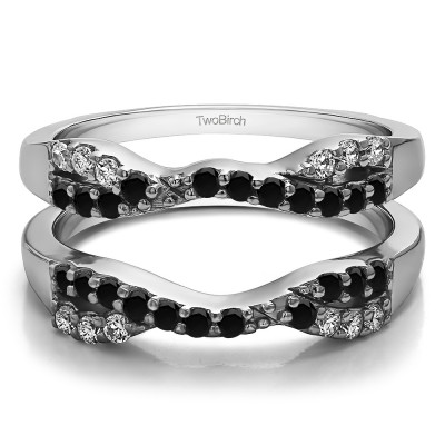 0.51 Ct. Black and White Stone Infinity Cross Ring Guard