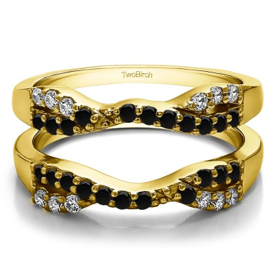 0.51 Ct. Black and White Stone Infinity Cross Ring Guard in Yellow Gold