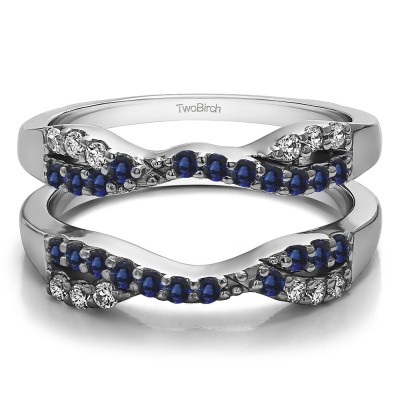 0.51 Ct. Sapphire and Diamond Infinity Cross Ring Guard