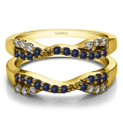 0.51 Ct. Sapphire and Diamond Infinity Cross Ring Guard in Yellow Gold