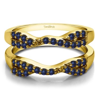 0.51 Ct. Sapphire Infinity Cross Ring Guard in Yellow Gold