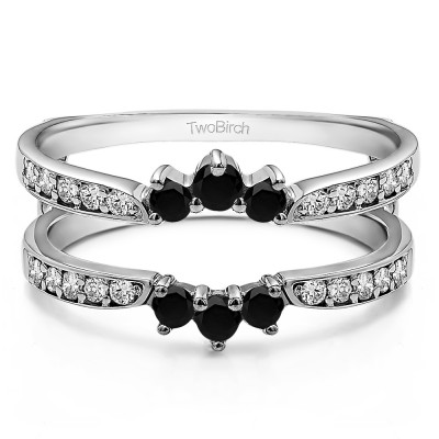 0.56 Ct. Black and White Stone Crown Inspired Half Halo Ring Guard