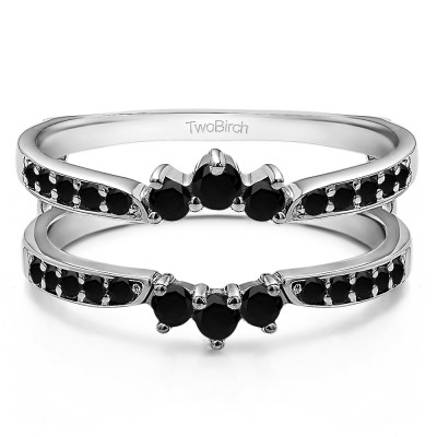 0.56 Ct. Black Stone Crown Inspired Half Halo Ring Guard