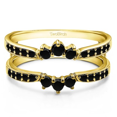 0.56 Ct. Black Stone Crown Inspired Half Halo Ring Guard in Yellow Gold