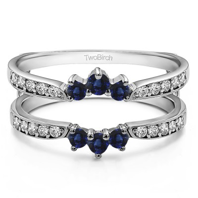 0.56 Ct. Sapphire and Diamond Crown Inspired Half Halo Ring Guard