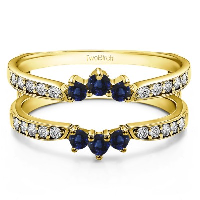 0.56 Ct. Sapphire and Diamond Crown Inspired Half Halo Ring Guard in Yellow Gold
