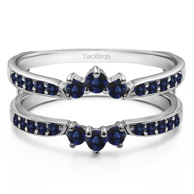 0.56 Ct. Sapphire Crown Inspired Half Halo Ring Guard