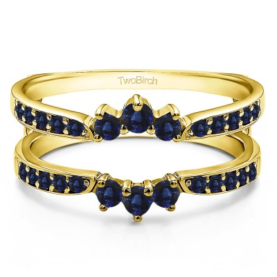 0.56 Ct. Sapphire Crown Inspired Half Halo Ring Guard in Yellow Gold