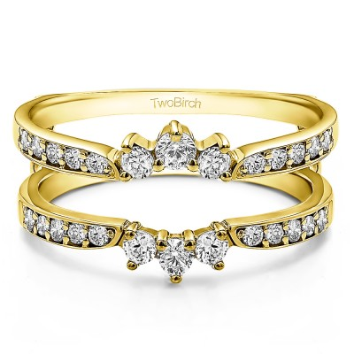0.56 Ct. Crown Inspired Half Halo Ring Guard in Yellow Gold