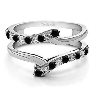 0.5 Ct. Black and White Stone Bypass Shared Prong Ring Guard
