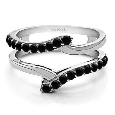 0.5 Ct. Black Stone Bypass Shared Prong Ring Guard