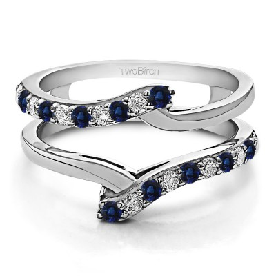 0.5 Ct. Sapphire and Diamond Bypass Shared Prong Ring Guard