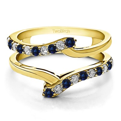 0.5 Ct. Sapphire and Diamond Bypass Shared Prong Ring Guard in Yellow Gold