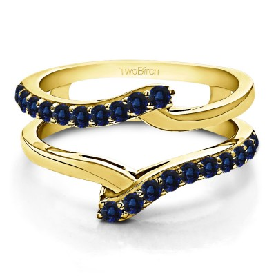 0.5 Ct. Sapphire Bypass Shared Prong Ring Guard in Yellow Gold