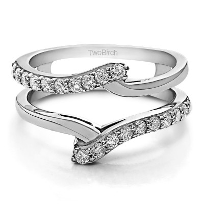 TwoBirch 0.5 Ct. Bypass Shared Prong Ring Guard in Sterling Silver with Cubic Zirconia (Size 7.5)
