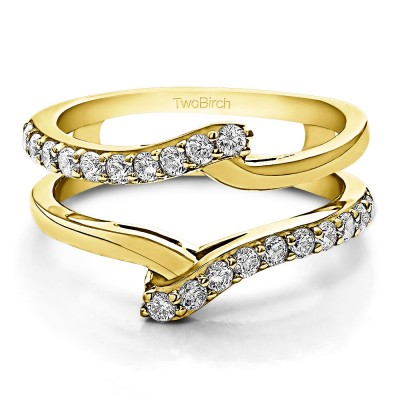 0.5 Ct. Bypass Shared Prong Ring Guard in Yellow Gold