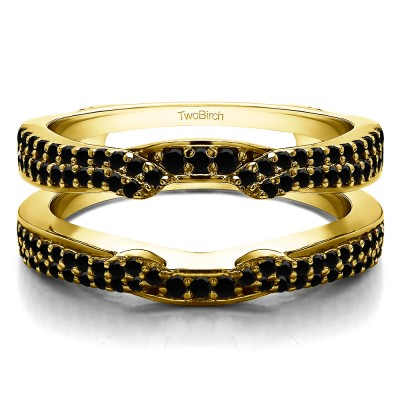 0.5 Ct. Black Stone Double Row Cathedral Ring Guard Enhancer in Yellow Gold