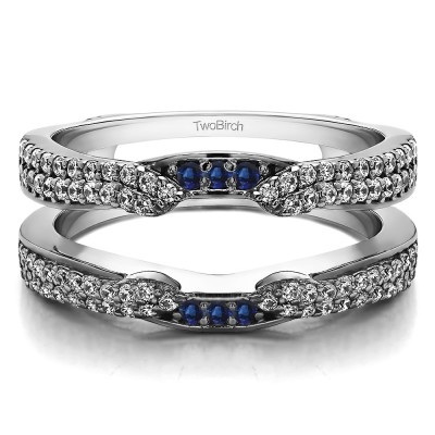 0.5 Ct. Sapphire and Diamond Double Row Cathedral Ring Guard Enhancer