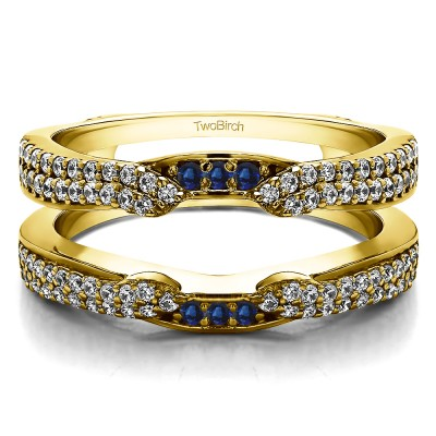 0.5 Ct. Sapphire and Diamond Double Row Cathedral Ring Guard Enhancer in Yellow Gold