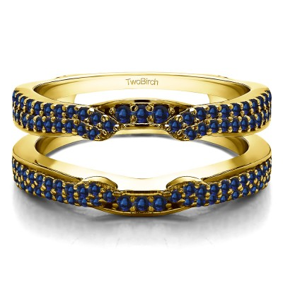 0.5 Ct. Sapphire Double Row Cathedral Ring Guard Enhancer in Yellow Gold