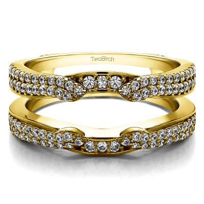0.5 Ct. Double Row Cathedral Ring Guard Enhancer in Yellow Gold