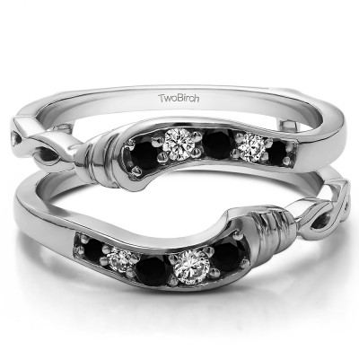0.22 Ct. Black and White Stone Infinity Bypass Ring Guard