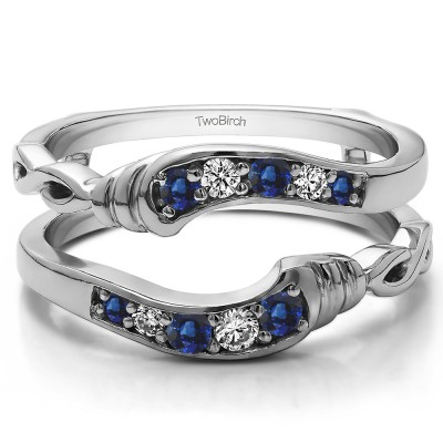 0.22 Ct. Sapphire and Diamond Infinity Bypass Ring Guard