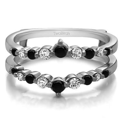 0.42 Ct. Black and White Stone Single Shared Prong Wedding Jacket Ring