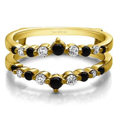 0.42 Ct. Black and White Stone Single Shared Prong Wedding Jacket Ring in Yellow Gold